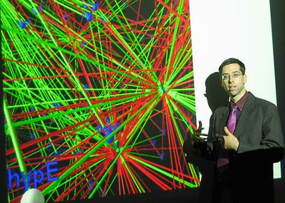 Gil Alterovitz presents a graphical image of a network of genes. As part of his research, he then turns those networks into music. (Courtesy)