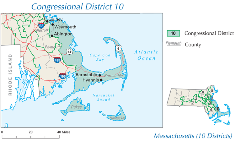 Rep. William Delahunt represents the 10th congressional district in Massachusetts, which covers Cape Cod and the South Shore. (Click to enlarge.)