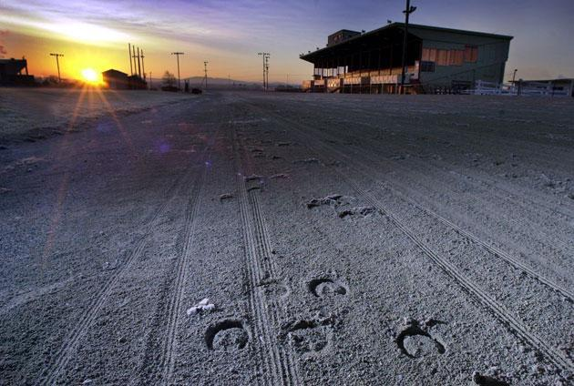 In 2003, a Las Vegas developer signed a deal to transform the Bangor Raceway in Maine into a $30 million gambling and entertainment complex. The defunct dog track in Raynham could face a similar future. (Robert F. Bukaty/AP)