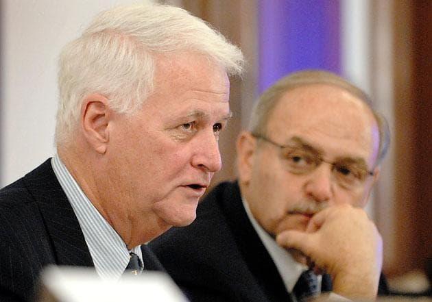 U.S. Rep. William Delahunt, left, with then-House Speaker Salvatore DiMasi in October 2008. (Josh Reynolds/AP)