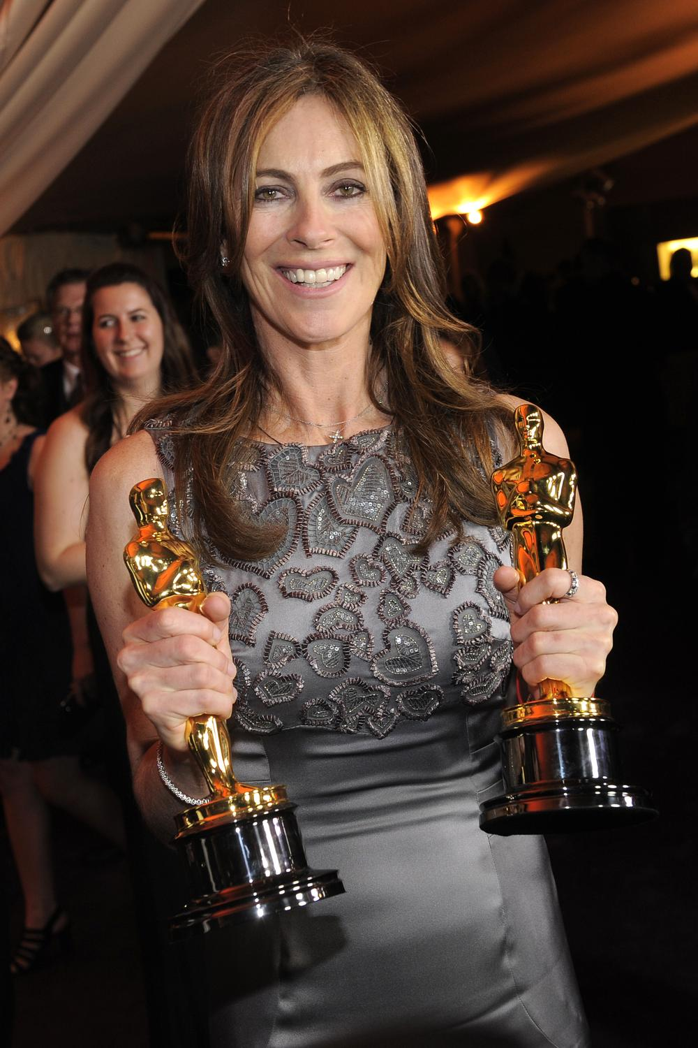 Kathryn Bigelow with the Oscars for Best Director and Best Picture (AP)