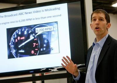 Dr. Matthew Schwall, a Toyota engineer, speaks during a webcast Monday at Toyota Headquarters in Torrance, Calif. Toyota assembled a group of experts to refute claims about ongoing safety problems. (AP)