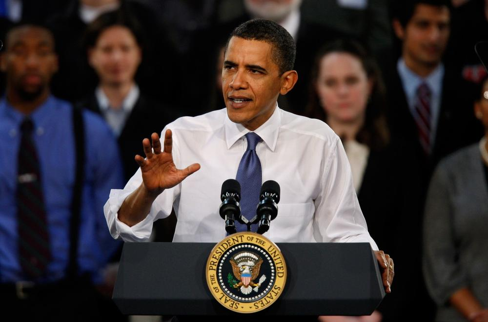 President Obama speaks about health care reform at Arcadia Univesity in Glenside, Pa on Monday. (AP)
