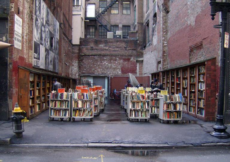 At the Brattle Book Shop, proprietor Ken Gloss says business is good. He's selling a couple hundred books a day from his outdoor stands alone. (LGagnon/Flickr)