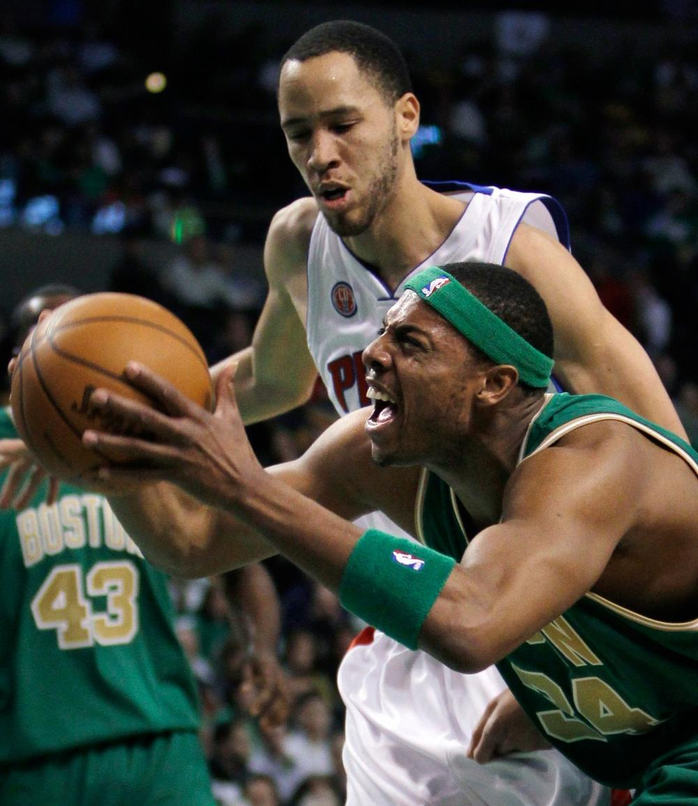 Boston Celtics forward Paul Pierce (34) drives past Detroit Pistons forward Tayshaun Prince during the first quarter of an NBA basketball game in Boston on Monday. (AP)