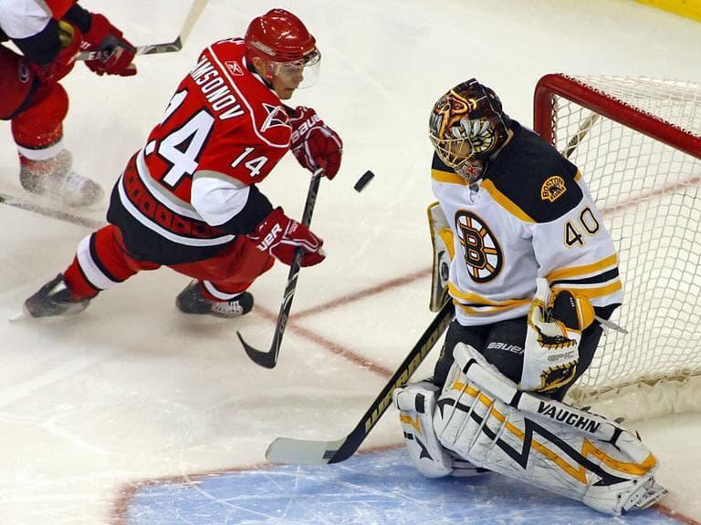 Carolina Hurricanes' Sergei Samsonov (14) has his shot blocked by Boston Bruins goalie Tuukka Rask (40) during the first period of an NHL hockey game in Raleigh, N.C., Tuesday, March 16, 2010. (AP Photo/Karl B DeBlaker)