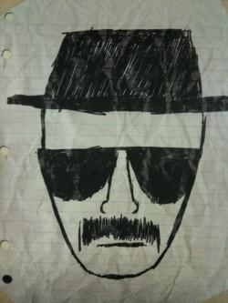 "A pen-sketched portrait of Bryan Cranston's character, Walt White, appears in an eerie temple on AMC's ""Breaking Bad."""