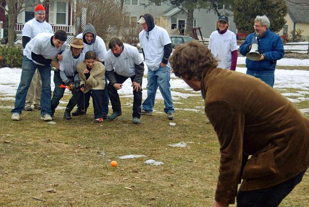 The Lamoille Society for the Promotion of Croquet players are the first from outside the county to win the Intergalactic Winter Croquet Rotating Trophy. (Karen Given/WBUR)
