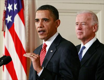President Barack Obama, joined by Vice President Joe Biden, makes a statement to the nation Sunday night following the final vote on health care reform in the House of Representatives (AP)