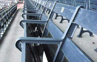 Fenway's improvements include some automatically retractable seats. (Roxanne Palmer for WBUR)