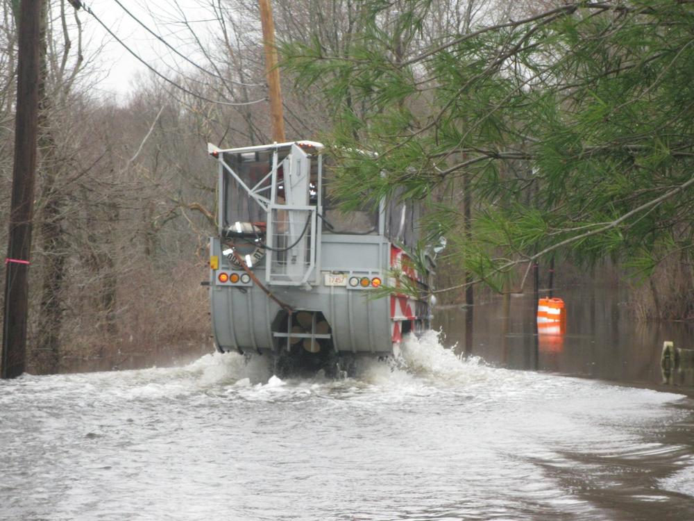 The duck boat was dispatched to Pelham Island Road, in Wayland, on Wednesday. (Fred Thys/WBUR)