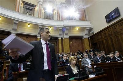 Liberal Democratic Party leader Cedomir Jovanovic speaks during a parliament session in Belgrade, Serbia yesterday (AP)