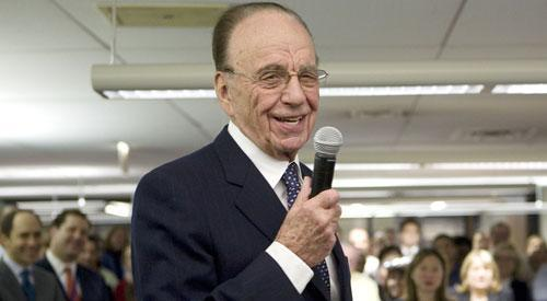 Rupert Murdoch addresses the Wall Street Journal newsroom on Thursday, Dec. 13, 2007, the day his $5 billion-plus bid for Dow Jones & Co., which owned the Journal, cleared its final hurdle. (AP)