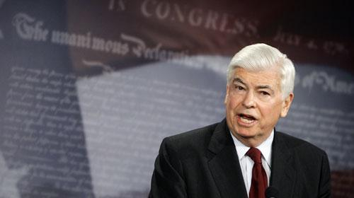 Senate Banking Committee Chairman Christopher Dodd, D-Conn., unveils his proposal on new financial rules during a news conference on Capitol Hill on Monday, March 15, 2010. (AP)