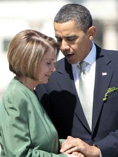 President Barack Obama talks with House Speaker Nancy Pelosi on Capitol Hill, Wednesday, March 17, 2010. (AP)