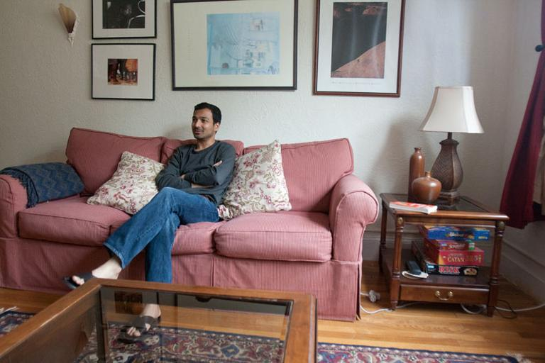 Prashant Jeloka at home on Sunday (Jess Bidgood for WBUR)
