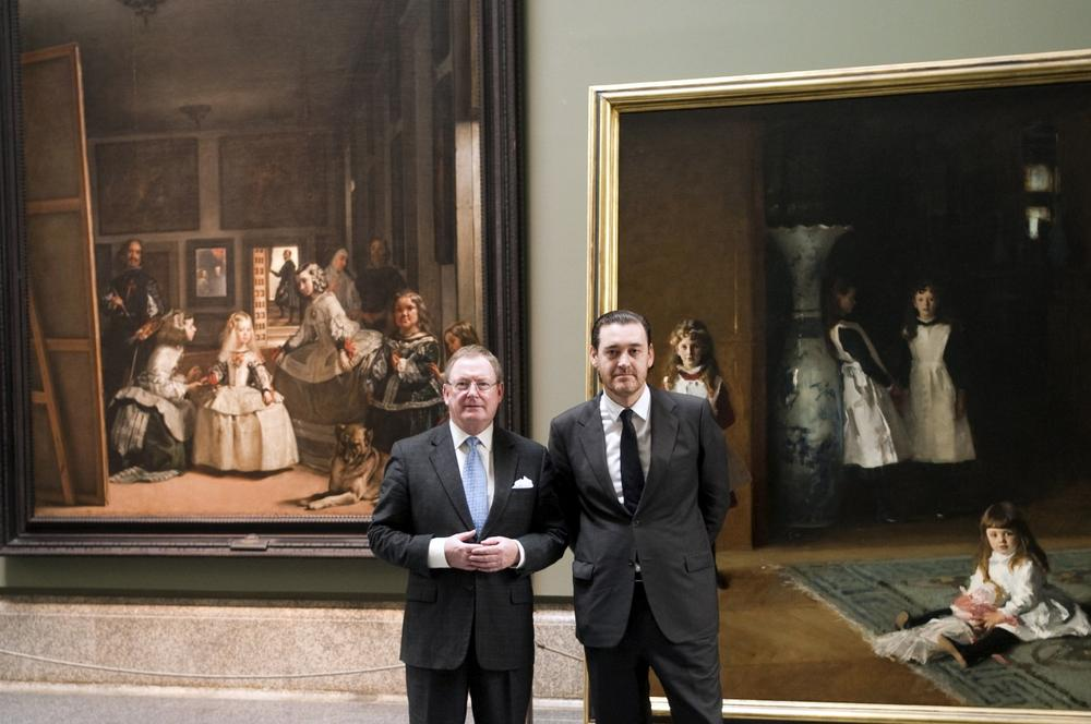 "MFA Director Malcolm Rogers and Prado Director Miguel Zugaza stand in front of John Singer Sargent's ""The Daughters of Edward Darley Boit"" and its direct source of inspiration, Diego Velázquez's ""Las Meninas."" (Andres Valentin/Prado)"