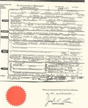 A copy of Seth Bishop's 1986 death certificate (PDF)