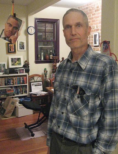 Steve Meacham in his co-op apartment in Cambridge.  (Curt Nickisch/WBUR)