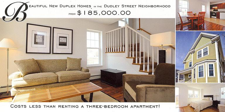 An ad for a Dudley Street land trust home. (Courtesy New Boston Ventures, LLC) (Click to enlarge)