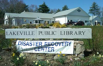Lakeville Public Library, seen here Wednesday, has been designated as a disaster recovery center. (Steve Brown/WBUR)