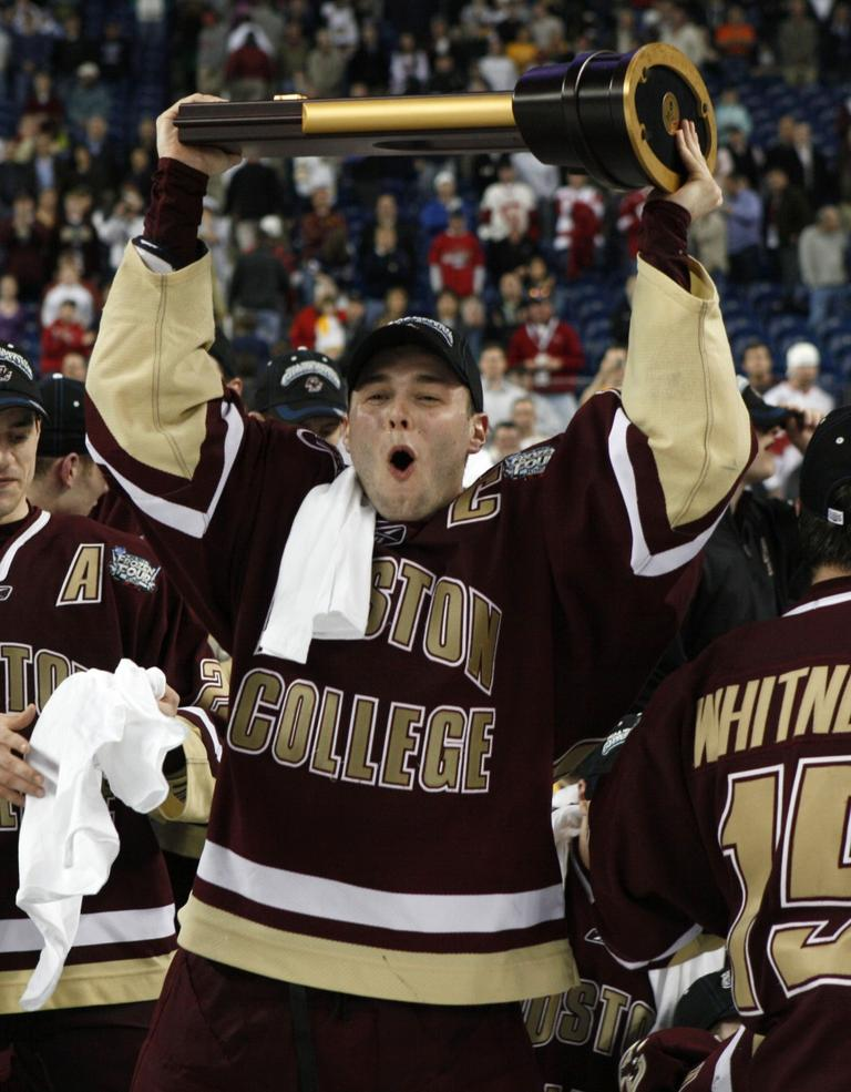 Boston College's Matt Price celebrates their 5-0 victory over Wisconsin in the NCAA Frozen Four championship hockey game in Detroit, Saturday. (AP Photo/Paul Sancya)