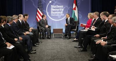 President Barack Obama, Jordan's King Abdullah II, and others, meet during the Nuclear Security Summit in Washington, Monday, April 12, 2010. (AP)