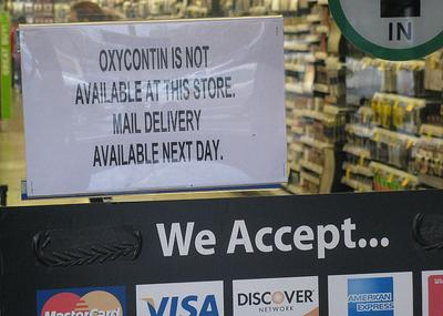 This Walgreens in Framingham has stopped keeping OxyContin in stock. Many stores have done the same in part due to high incidences of theft. (Deborah Becker/WBUR)