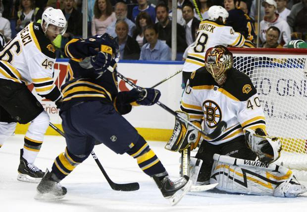 Boston goalie Tuukka Rask stops a shot by Buffalo's Tyler Ennis during the first period of a first-round playoff game in Buffalo, N.Y. on Thursday. (AP)