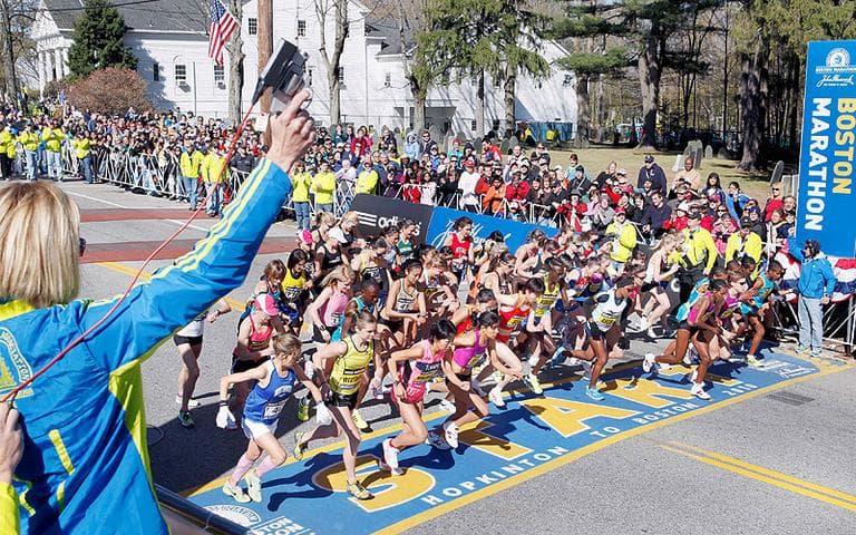 The elite women start the 114th Boston Marathon in Hopkinton, Mass. (AP)