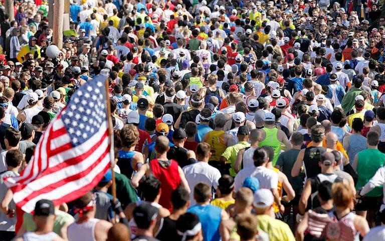 Runners start the 114th Boston Marathon in Hopkinton on Monday. (AP)