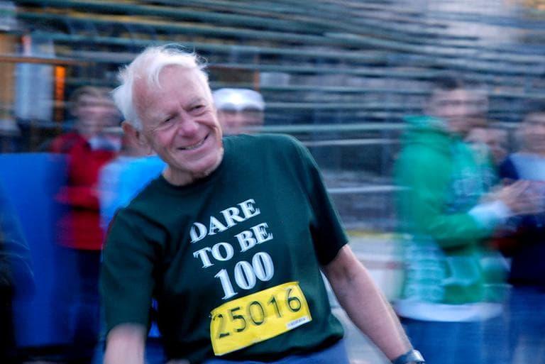 Dr. Walter Bortz, after his 40th marathon on Monday (Sonari Glinton for WBUR)