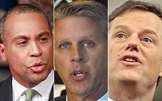 Gov. Deval Patrick, Timothy Cahill and Charles Baker (AP)