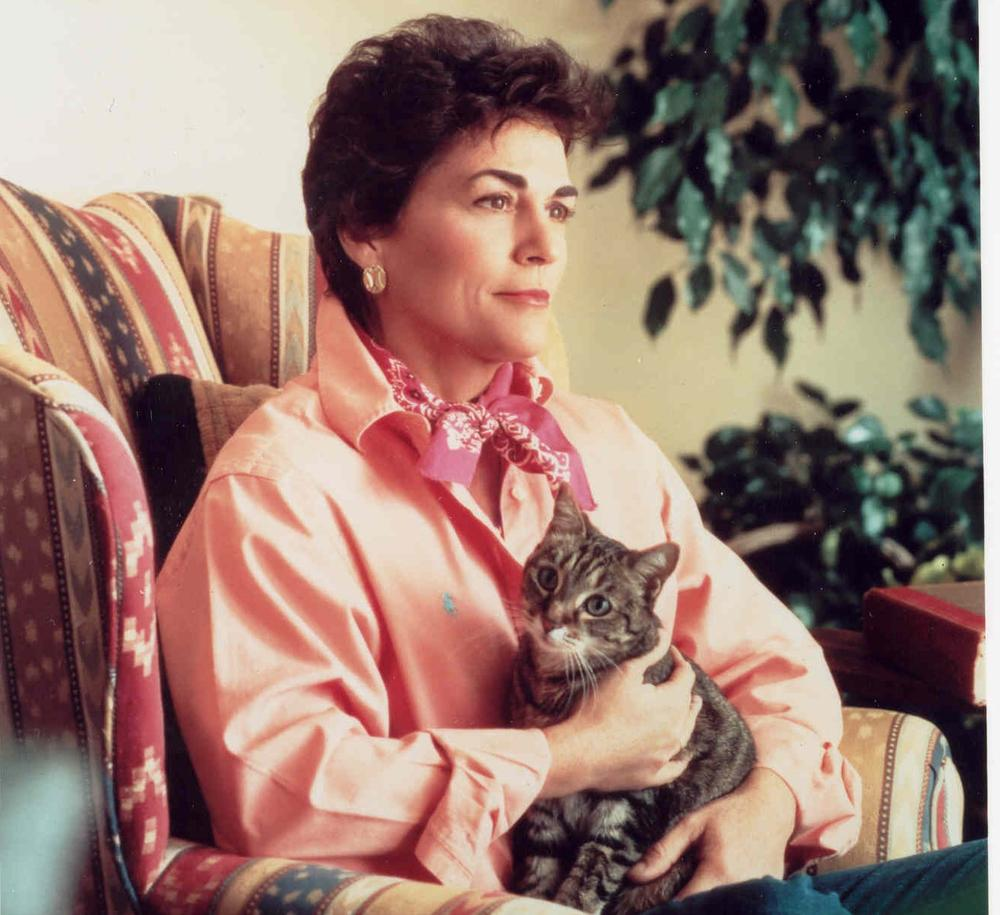 Author Rita Mae Brown with her cat and muse, Sneaky Pie Brown. (Courtesy Bantam Dell Publishing Group)