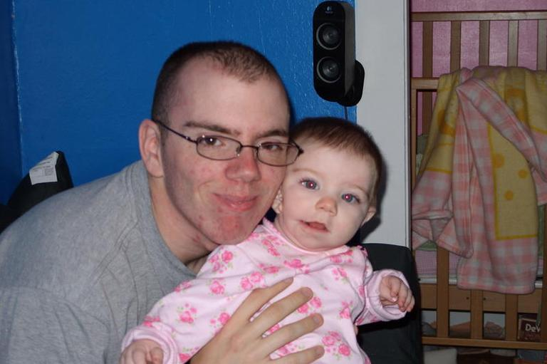 20 year old Robert J. Barrett of Fall River seen with his two year old daughter, Sohpie Alexandra.