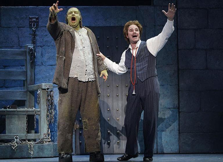 "Shuler Hensley, left, and Roger Bart appear in an earlier version of ""Young Frankenstein."" (Courtesy Paul Kolnik)"
