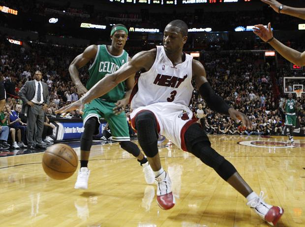 Rajon Rondo applies pressure in the second half of Game 4 during the first round of the series in Miami on  Sunday. (AP)