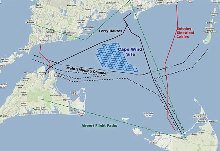 Proposed location of Cape Wind (Jesse Costa/WBUR) (Click to enlarge)