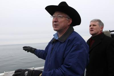 Secretary of the Interior Ken Salazar takes in the view aboard a Coast Guard buoy tender while on an information gathering tour of Nantucket Sound regarding the viability of Cape Wind in February. (AP)