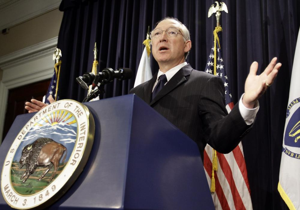 U.S. Interior Secretary Ken Salazar fields questions from reporters after announcing that the Obama administration has approved what would be the nation's first offshore wind farm, off Cape Cod, during a news conference at the State House on Wednesday. (AP)