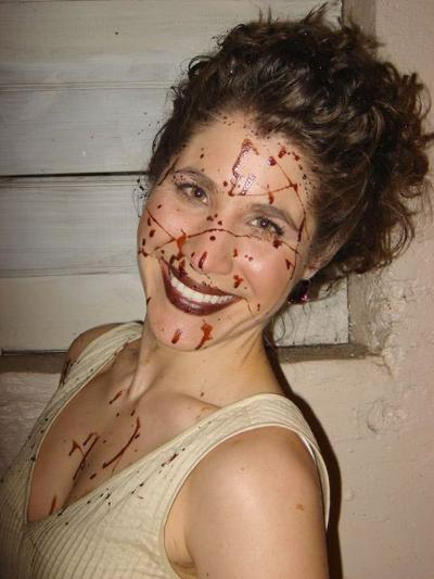 Actress Maria Ciampa between takes, with chocolate syrup standing in for blood (Courtesy)
