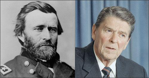 Presidents Ulysses S. Grant and Ronald Reagan (AP images)