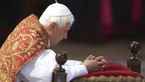 Pope Benedict XVI kneels during a service in St. Peter's Basilica at the Vatican, April 2, 2010. (AP)