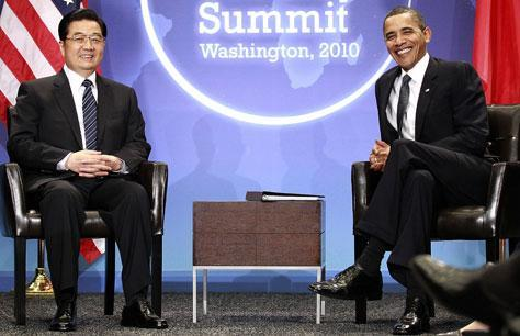 President Barack Obama meets with Chinese President Hu Jintao during the Nuclear Security Summit in Washington, Monday, April 12, 2010. (AP)