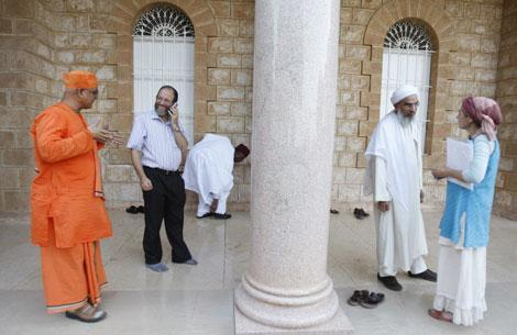 Religious leaders at the Elijah Interfaith Convention in Haifa, Israel, 2009. Attending were about 50 leaders representing Christianity, Islam, Judaism, Buddhism, and Sikhism. (AP)