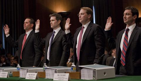 Goldman Sachs employees and ex-employees, from left, Daniel Sparks; Joshua Birnbaum; Michael Swenson; and Fabrice Tourre, are sworn in on Capitol Hill, April 27, 2010, prior to testifying before the Senate Investigations subcommittee. (AP)