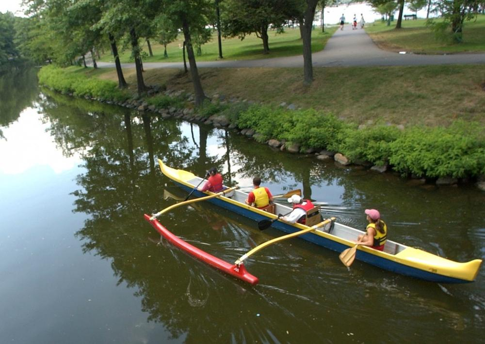 Paddlers make their way down a waterway of the Charles River in 2005. (AP)