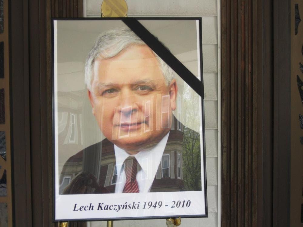 Polish president Lech Kaczysnki was among the top officials killed in the crash. (Sacha Pfeiffer/WBUR)