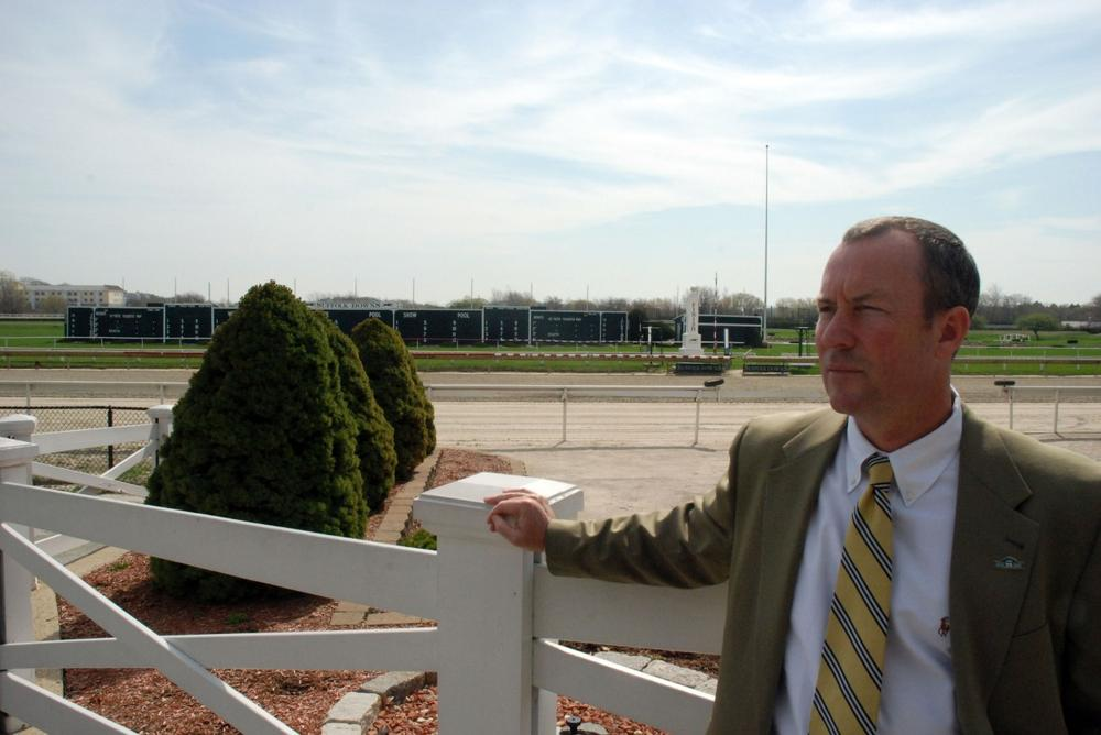 Chip Tuttle, chief operating officer at Suffolk Downs, is hoping the thoroughbred racetrack will receive one of two casino licenses being considered on Beacon Hill. (Lisa Tobin/WBUR)