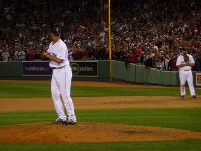 Pitcher Jonathan Papelbon closes out the Yankees in the ninth. (Sam Fleming/WBUR)